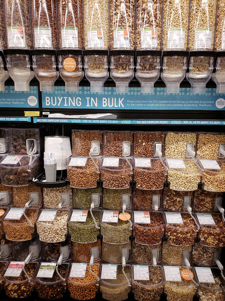 Bulk Bin of Nuts at Whole Foods