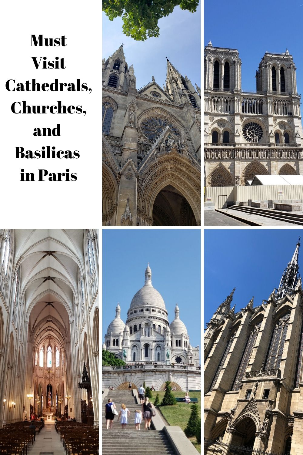 Today, we're sharing with you 5 of the most beautiful and historical must visit Cathedrals, Churches, and Basilicas in Paris. #Paris #paristravel
