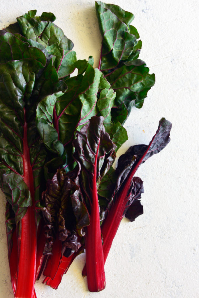 image of swiss chard on a white surface