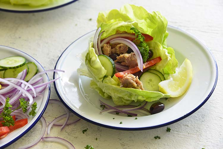 close up image of Mediterranean Tuna Lettuce Wraps on a white plate