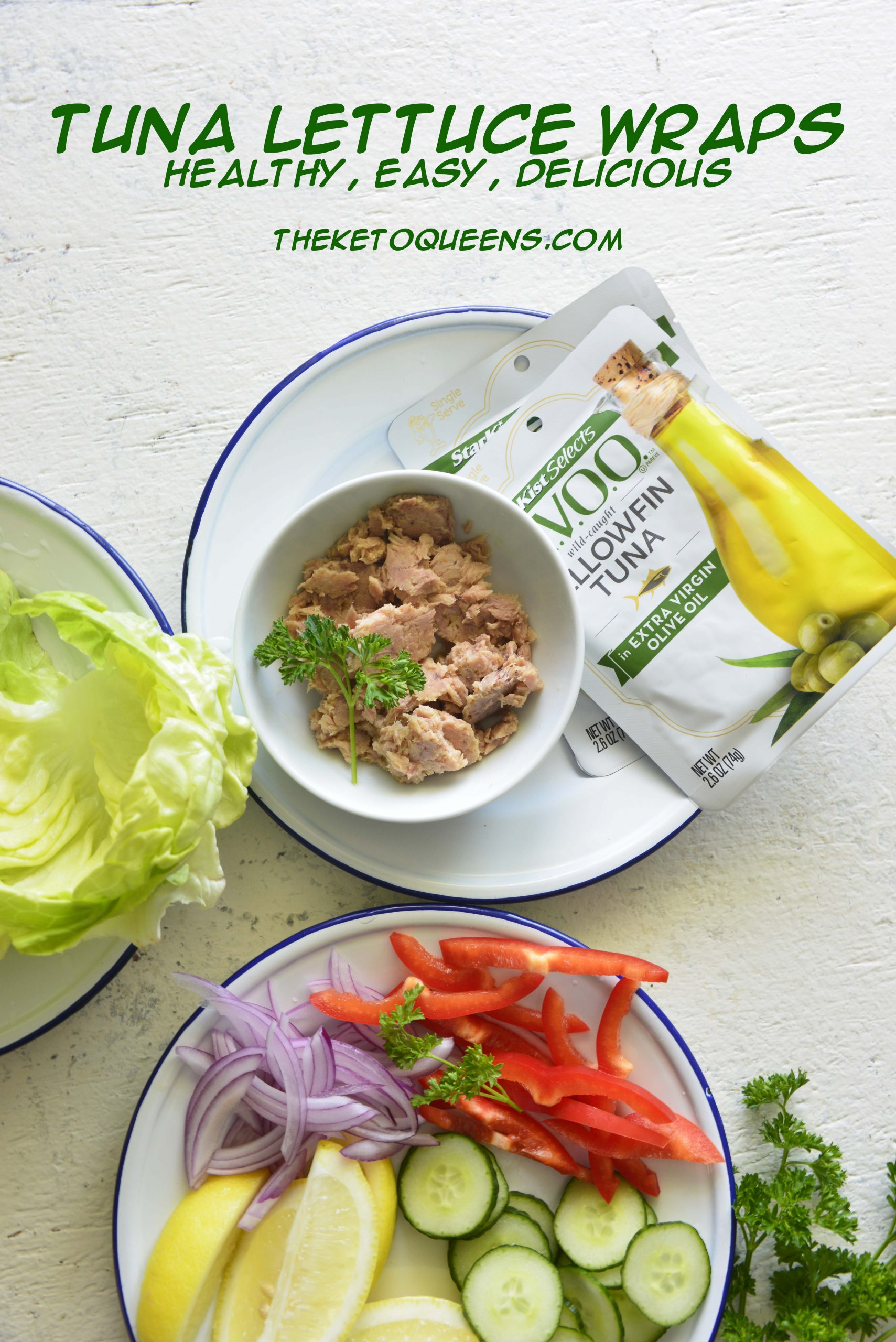 pinable image for easy Mediterranean Tuna Lettuce Wraps