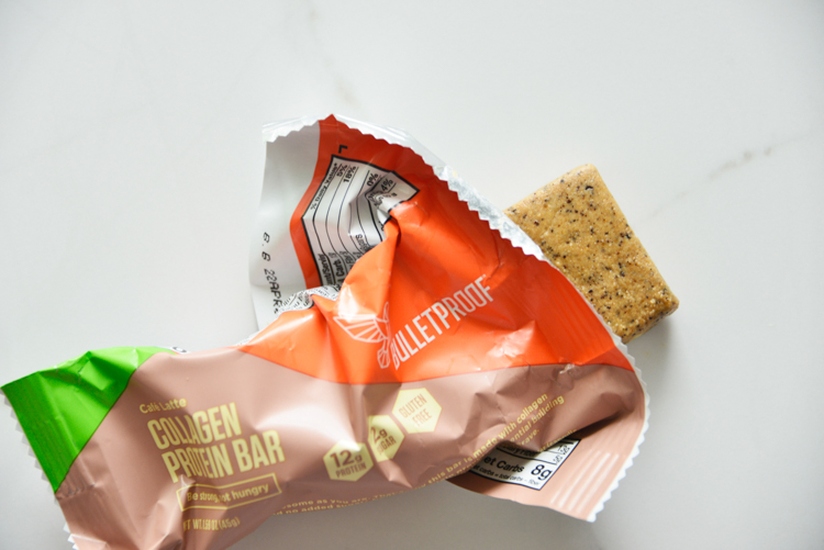 an opened bulletproof collagen protein bar