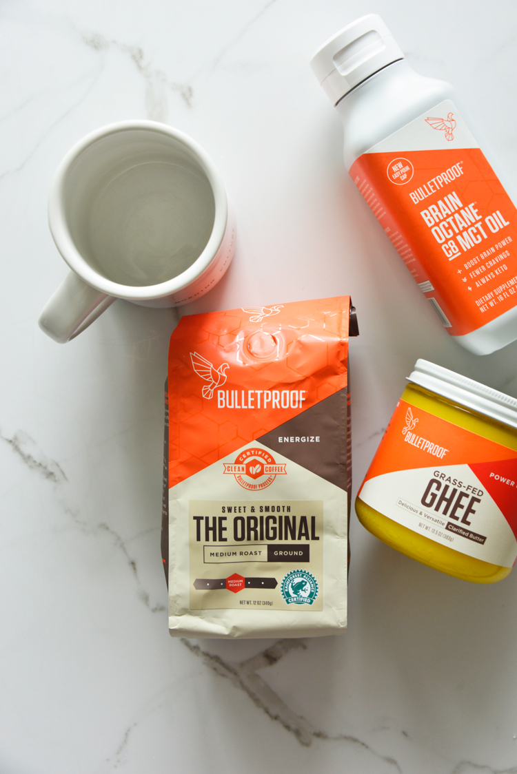 creating a morning routine with bulletproof coffee and ghee and an empty mug