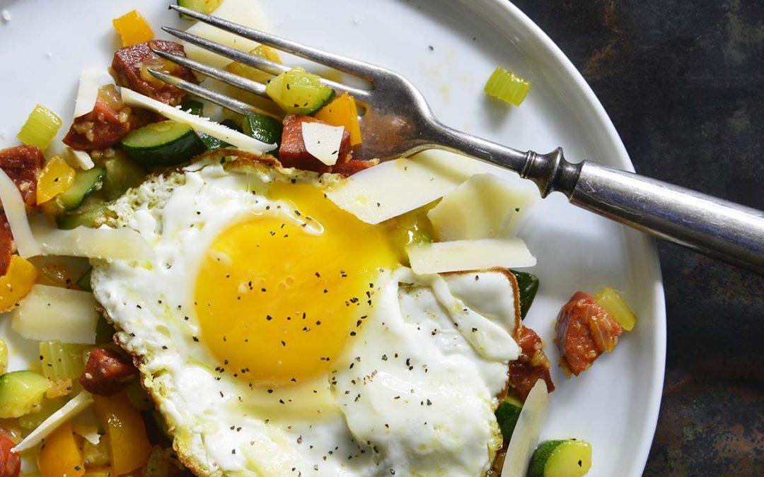 Keto Breakfast Hash with Chorizo and Eggs
