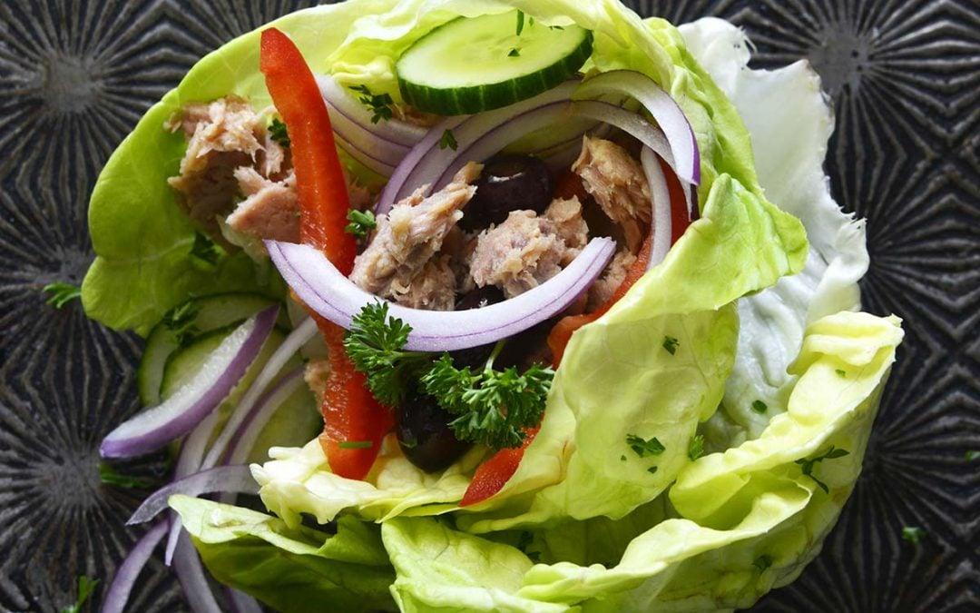 Easy Mediterranean Tuna Lettuce Wraps